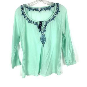 Old Navy Embroider Peasant Boho Blue Green Top SP